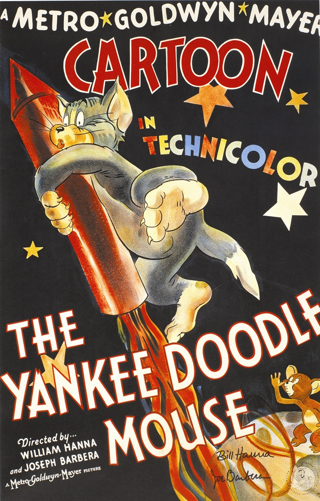 """Yankee Doodle Mouse"" (1996). Color poster. Hand-signed in ink by William Hanna and Joseph Barbera. Park West Gallery Animation Art"