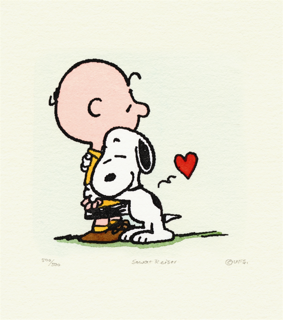 """Charlie Brown and Snoopy"" (2004). Etching in color on wove paper. Park West Gallery Animation Art"