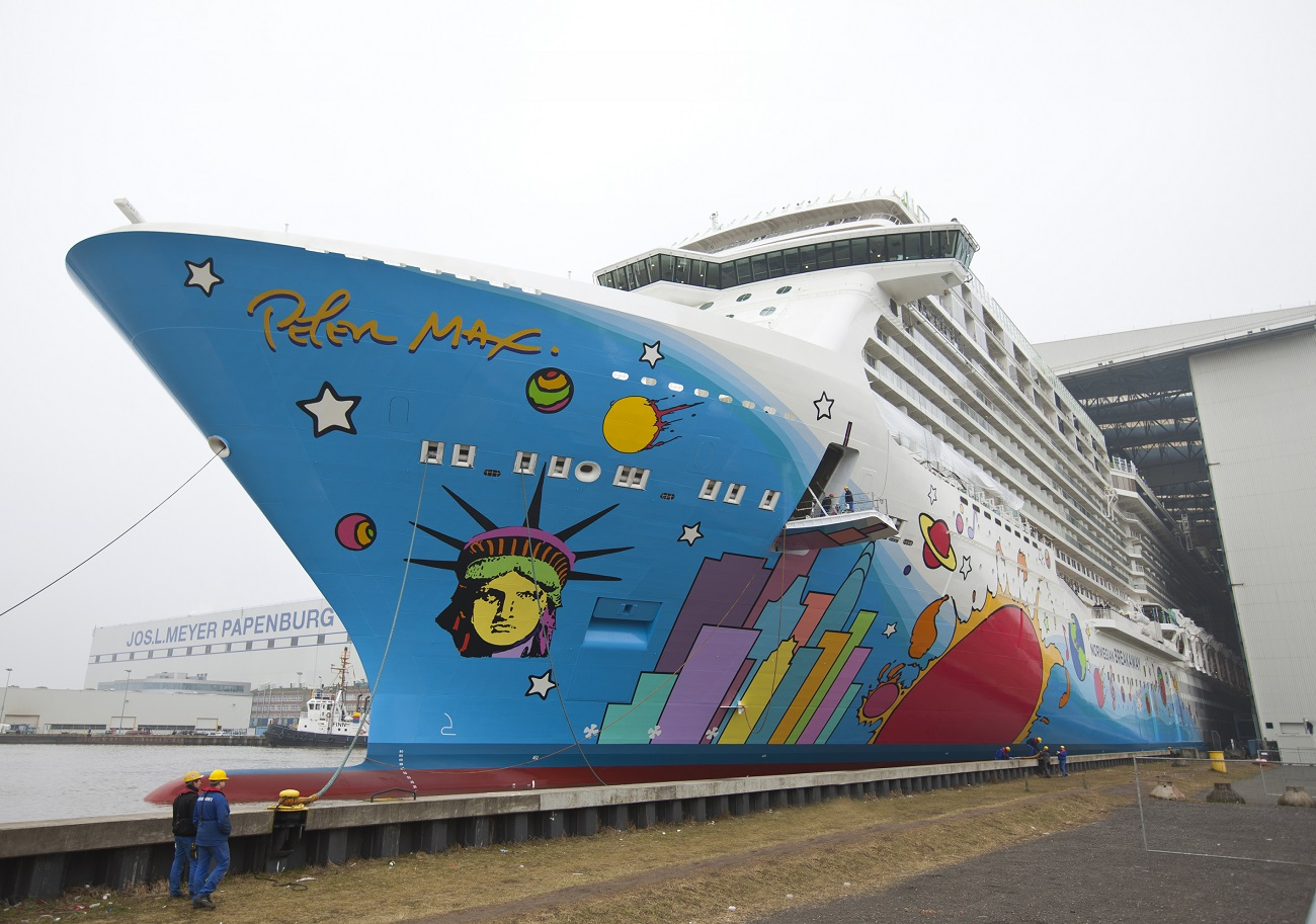 "Norwegian Breakaway—the ""Peter Max cruise ship""—leaving the Meyer Werft shipyard in 2013. (Image courtesy of Meyer Werft)"