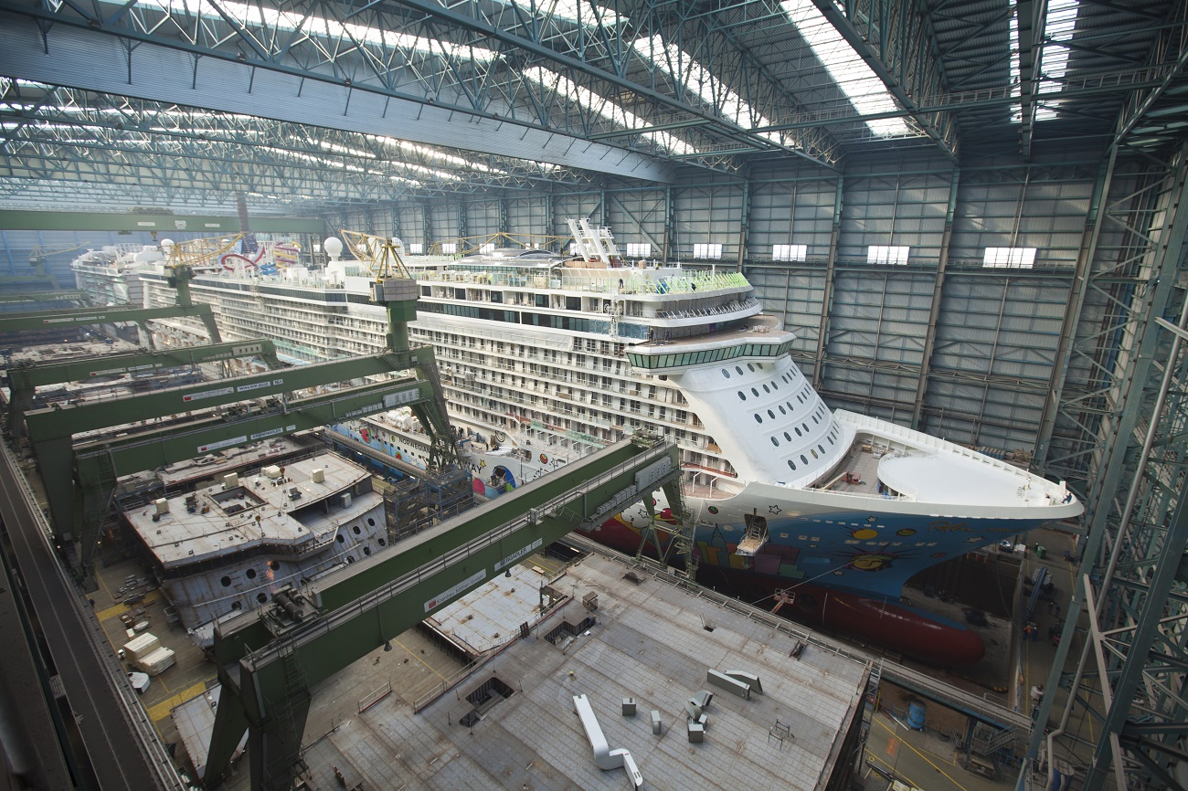Norwegian Breakaway under construction (Image courtesy of Meyer Werft)
