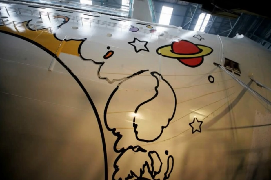 Peter Max hull art, in progress, on Norwegian Breakaway cruise ship.