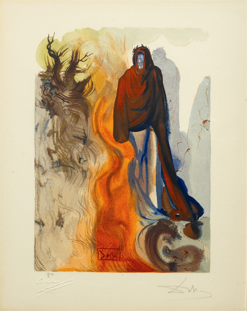 """Divine Comedy—Inferno 34: Apparition de Dite"" (The Ghost Spoken Of, 1951-1964), Salvador Dalí. From the ""Stairway to Heaven"" exhibition."