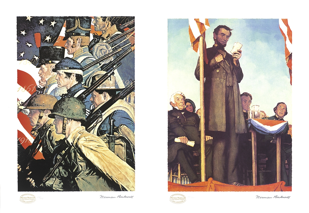 """A Pictorial History of the United States Army,"" original painting, c. 1940; seriolithograph, 2012. ""Abraham Lincoln Delivering the Gettysberg Address"" original painting, 1942; seriolithograph, 2012, Norman Rockwell."