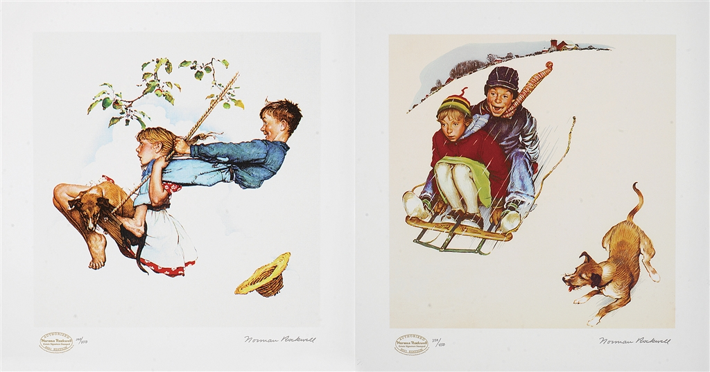 """Young Love Suite,"" original paintings, 1948; seriolithograph, 2011, Norman Rockwell"