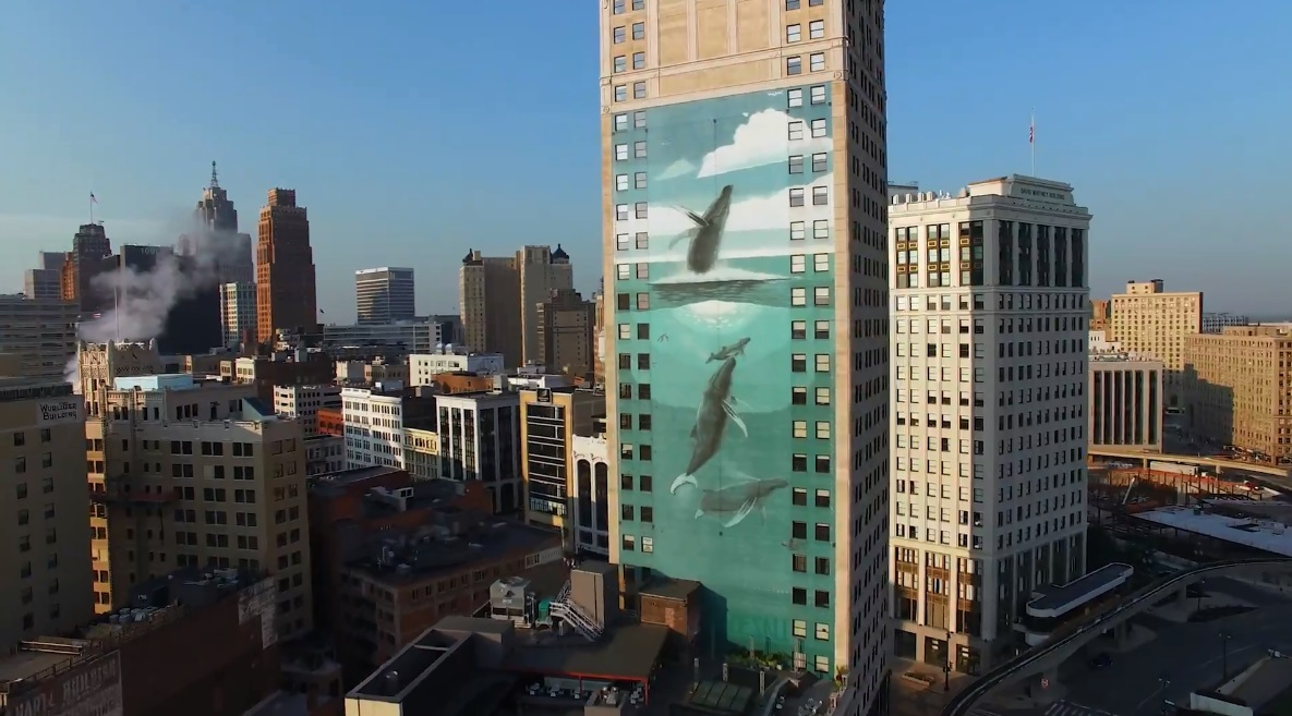 """One of the """"Whaling Wall"""" murals in the artist's hometown of Detroit."""