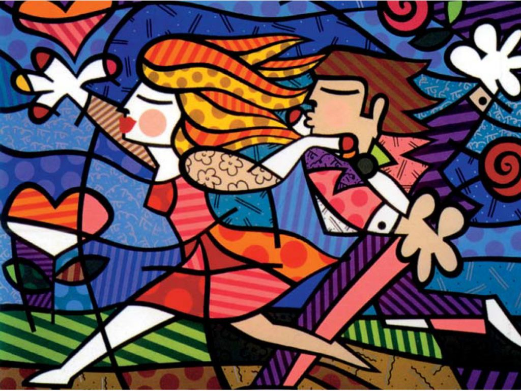"Britto's ""Love Blossoms"" illustrates the exuberance of young lovers within nature."
