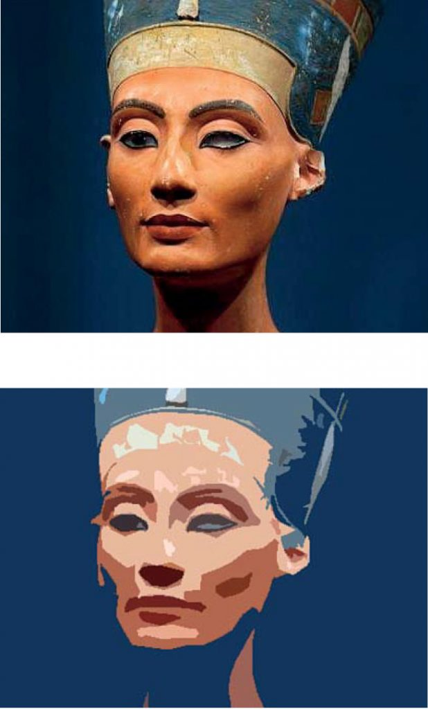 Top: Bust of Nefertiti in the original. Bottom: Digital abstraction of the bust of Nefertiti.