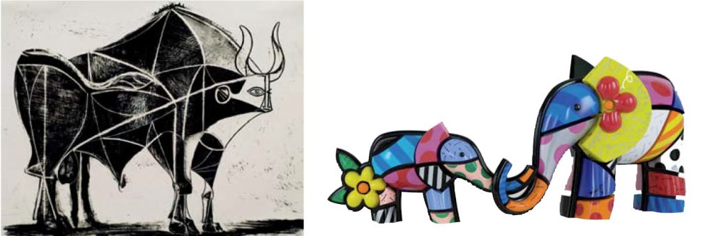Left: Pablo Picasso / Right: Romero Britto