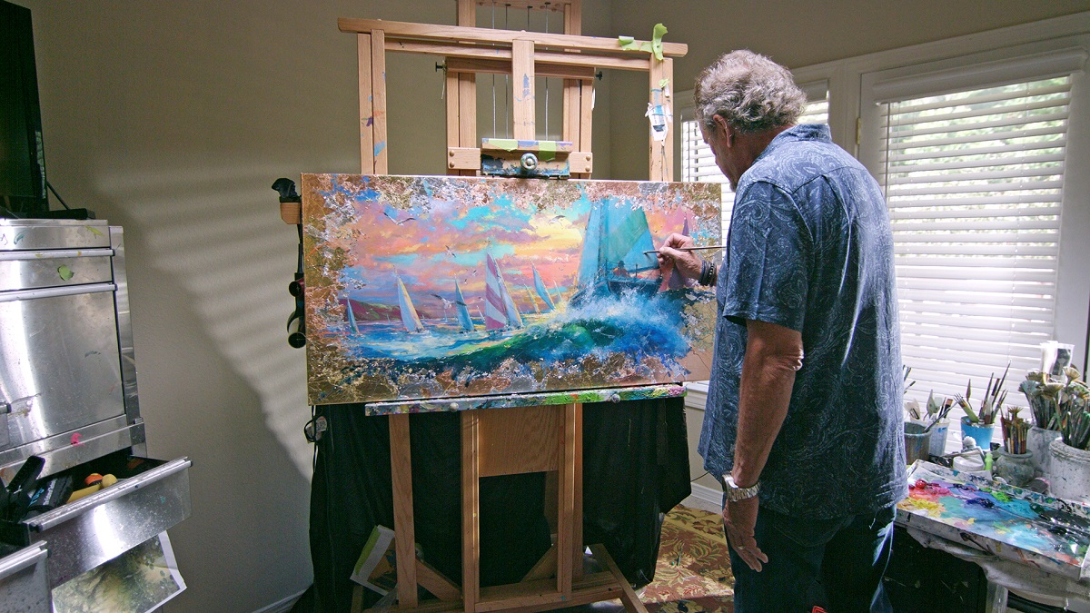 Coleman working in his studio.