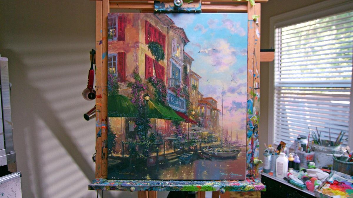 Painting in James Coleman's studio