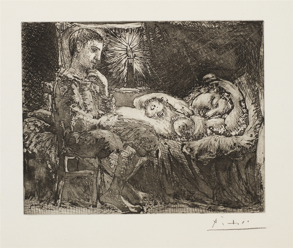 """Garcon et Dormeuse a la Chandelle"" (1934), Pablo Picasso. From The Suite Vollard, Etching on Montval laid paper."