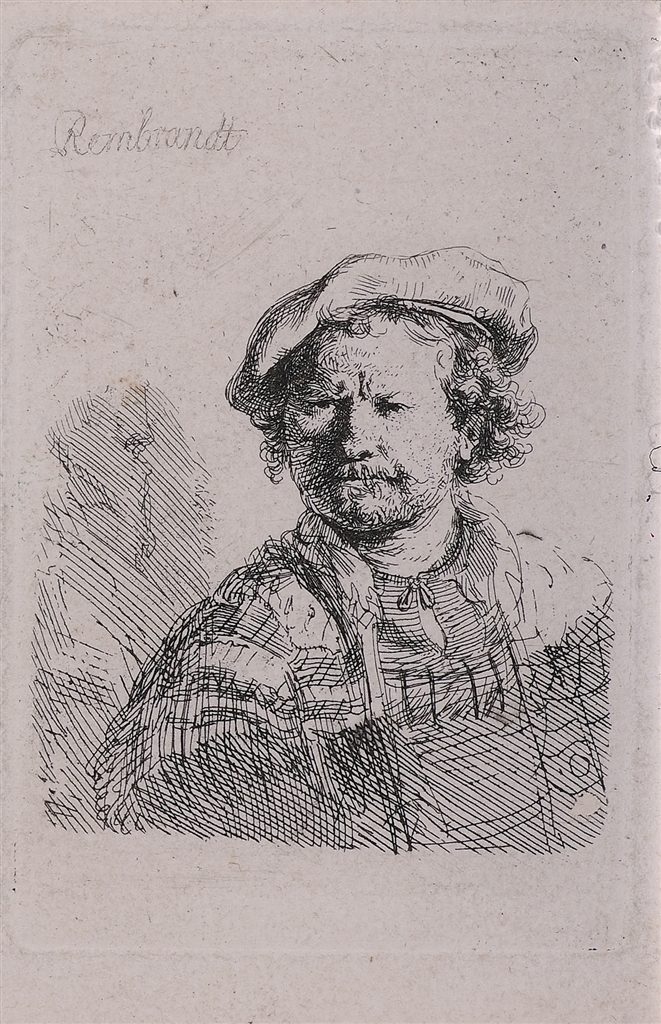 """Self Portrait in a Flat Cap and Embroidered Dress"" (c. 1638), Rembrandt van Rijn. Etching on laid paper with small margins."