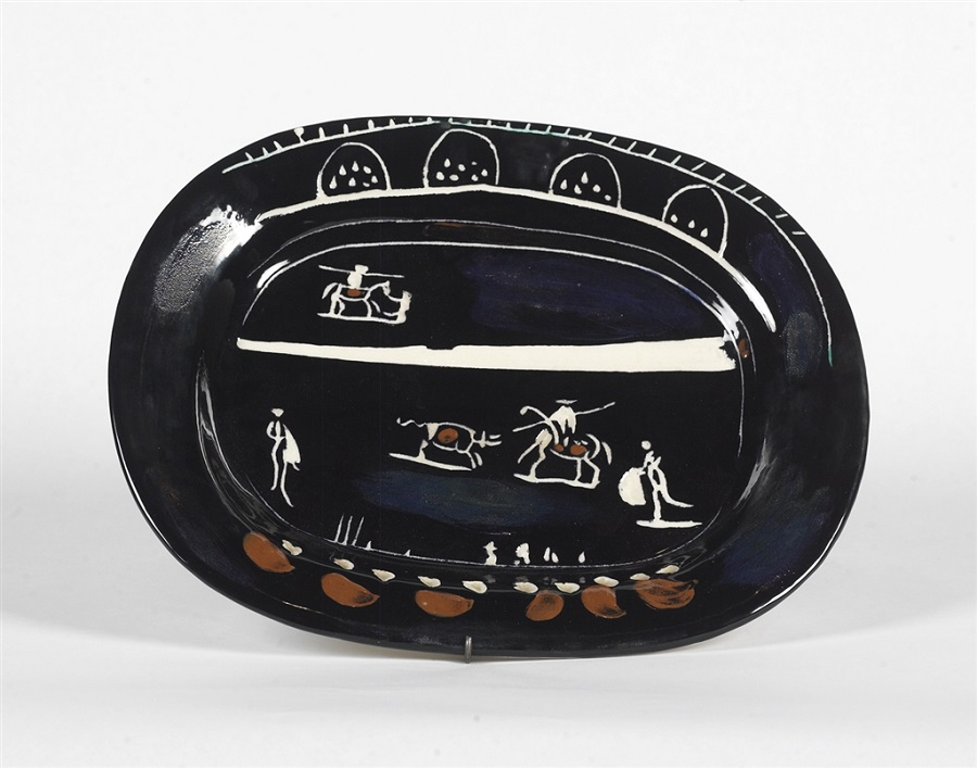 """Corrida Vert"" (Green Corrida; 1949), Pablo Picasso. White earthenware clay rectangular dish with engobe painting and inscribed design. From the Picasso Ceramics collection at Park West Gallery."