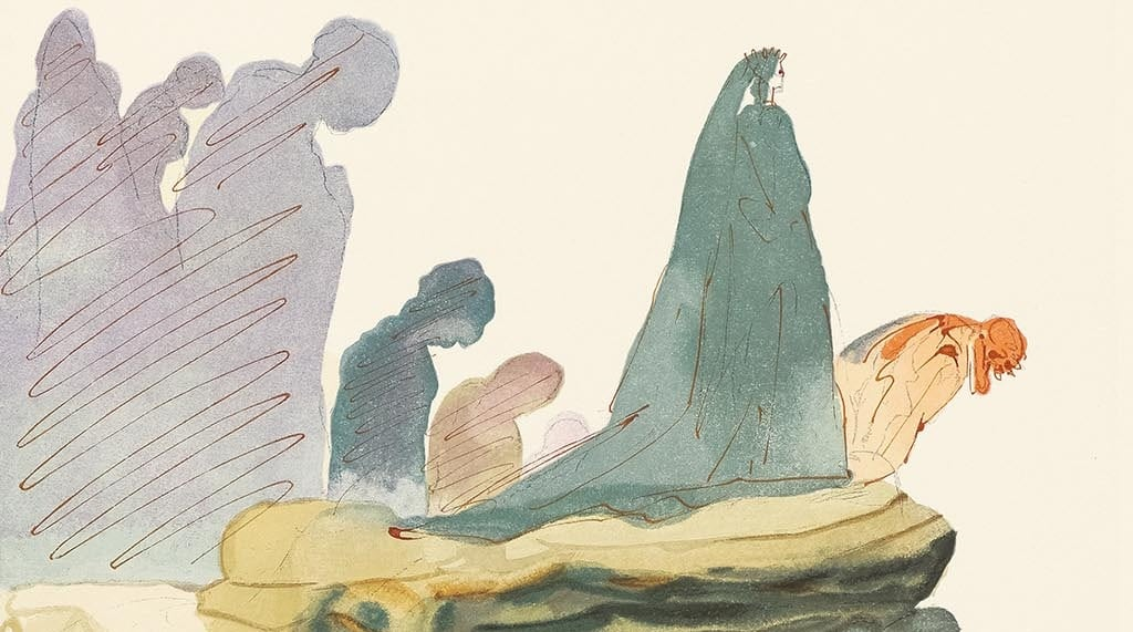 "Detail from ""The Dishonest"" (Les prevaricators; 1960). From ""Divine Comedy—Inferno 22,"" Salvador Dalí."