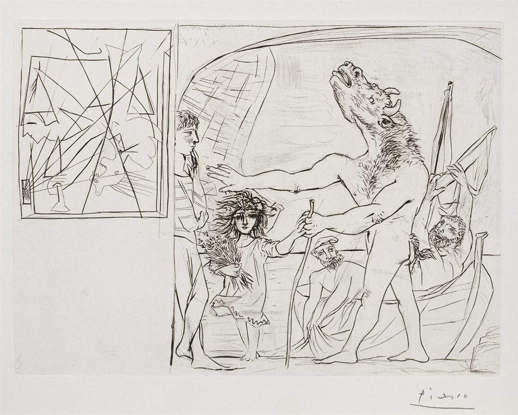 """Minotaure Aveugle Guide Par une Fillette, I"" (1934). Etching from Picasso's Vollard Suite."
