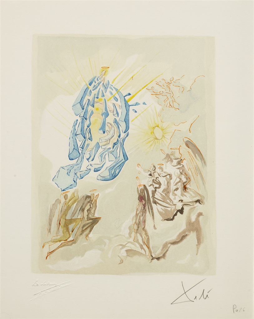 """Meeting of the Forces of Luxury"" (Dante recouvre la vue; 1960). From Dalí's ""Divine Comedy—Paradise 26."""