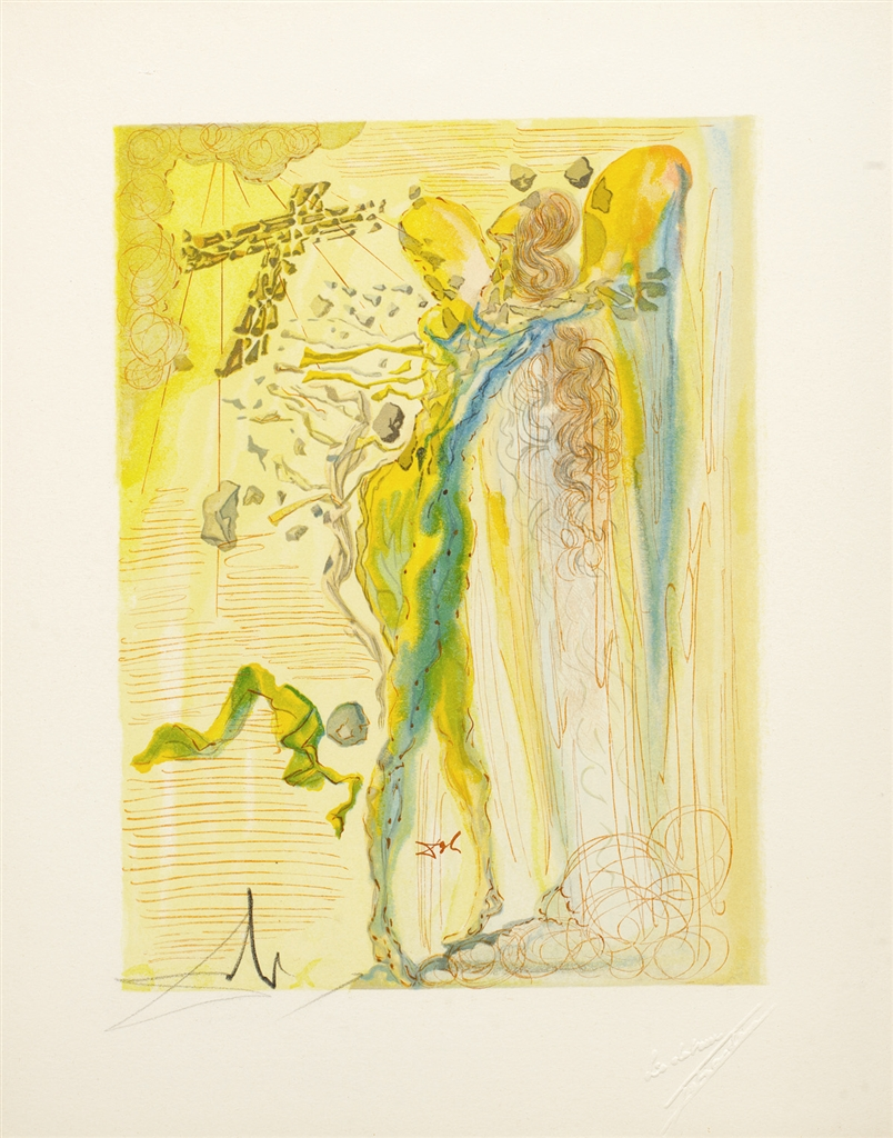 """Uproar of the Glorious Corps"" (L'eclat des corps glorieux; 1960). From Dalí's ""Divine Comedy—Paradise 12."""