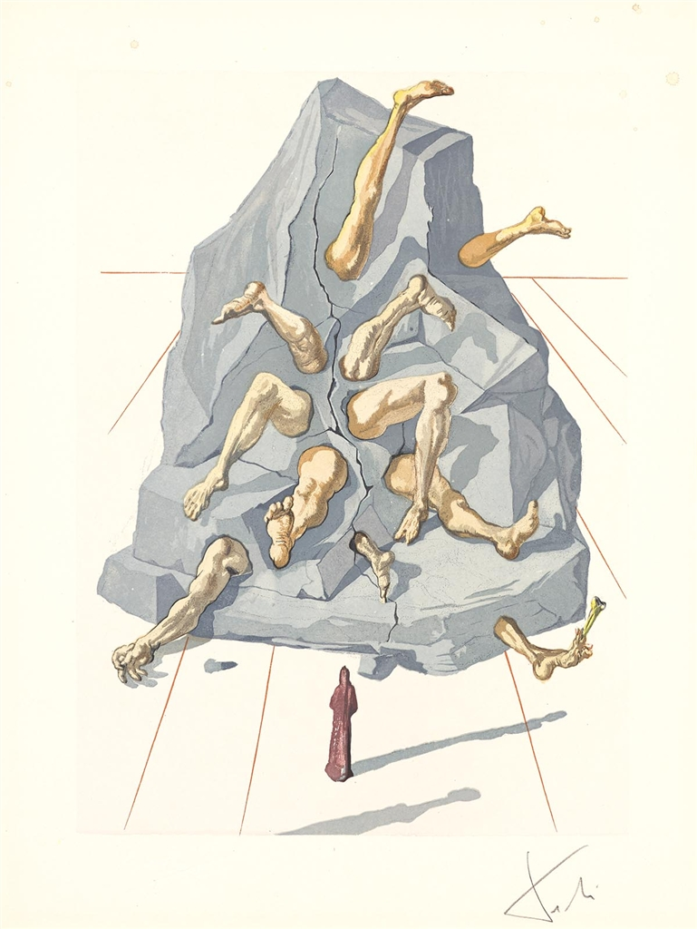 """Inhabitants of Prado"" (Les habitants de Prato; 1959-1963). From Dalí's ""Divine Comedy—Inferno 26."""