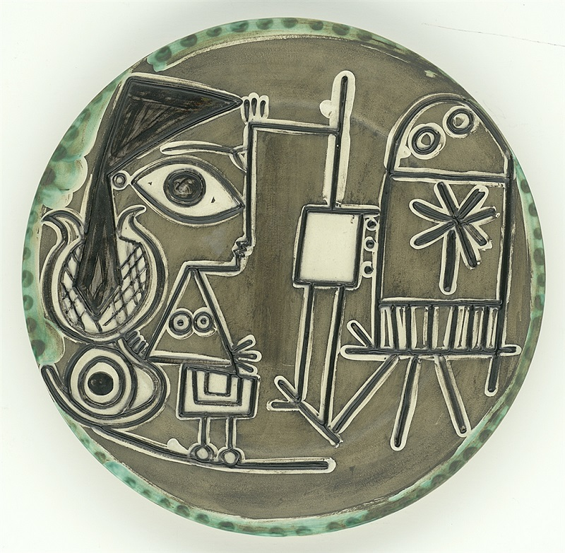 """Jacqueline au Chevalet"" (Jacqueline at the Easel; 1956), Pablo Picasso. White earthenware ceramic plate, painted and glazed. From the Picasso Ceramics collection at Park West Gallery."
