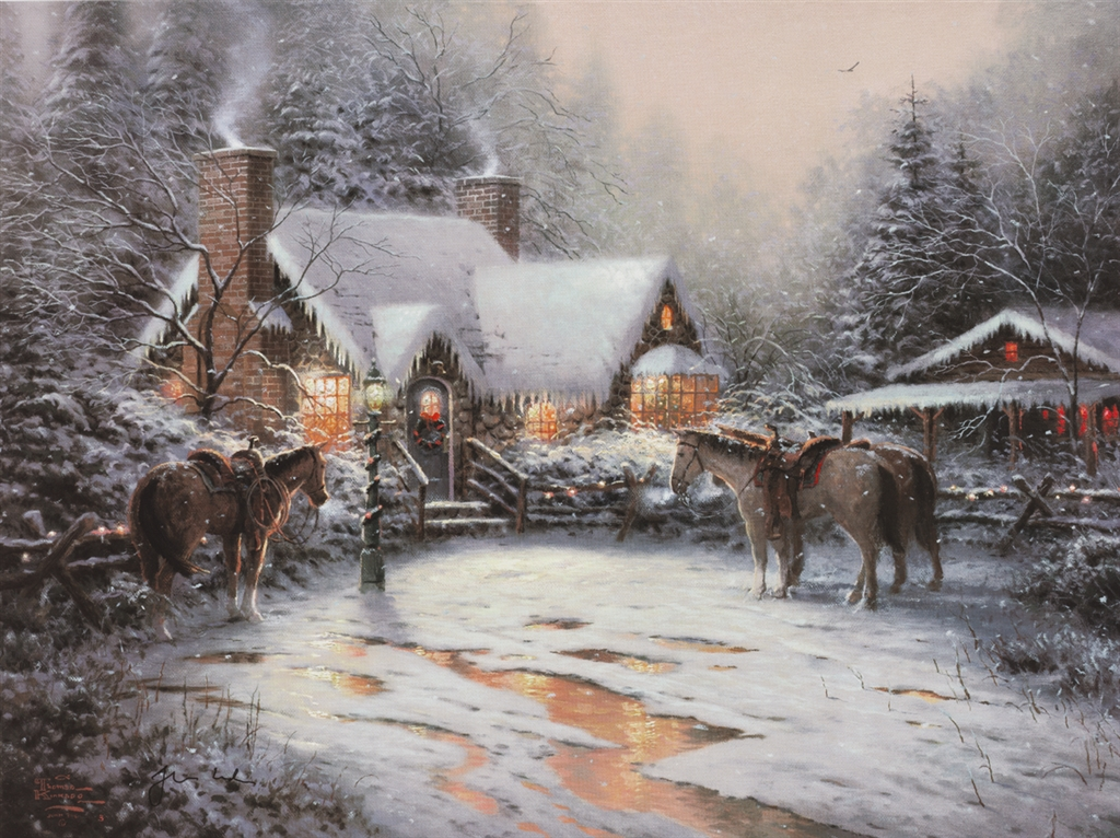 """""""A Christmas Welcome,"""" Thomas Kinkade"""