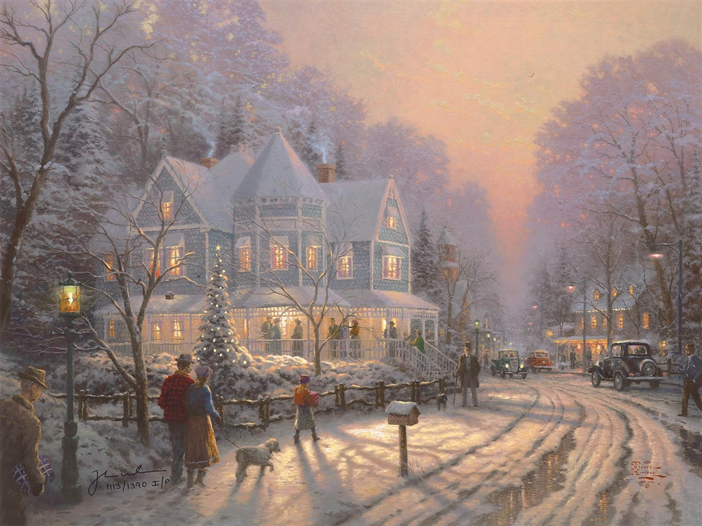 """A Holiday Gathering,"" Thomas Kinkade"