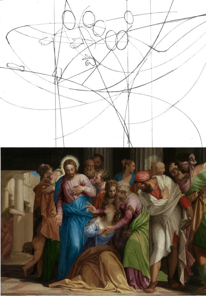 "Peter Nixon breaks down the compositional curves of ""The Conversion of Mary Magdalene"" by Paolo Veronese"