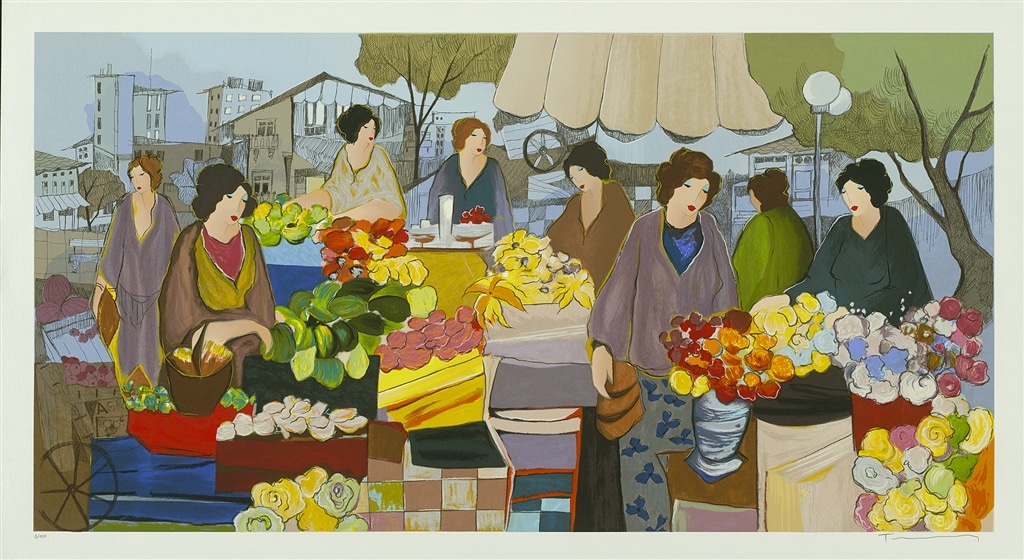 """Flower Market City Square,"" Itzchak Tarkay"