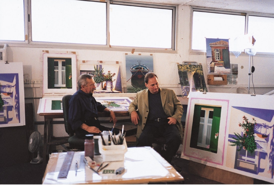 Igor Medvedev and Park West Gallery Founder and CEO Albert Scaglione at Romi-Shaked Levan studio in Israel in 1999