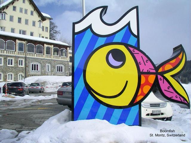 """Britto's """"Boomfish"""" sculpture in St. Moritz, Switzerland."""