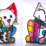 "From left to right: ""Yellow Flower"" and ""Red Flower"" by Romero Britto. From the Britto sculpture collection."