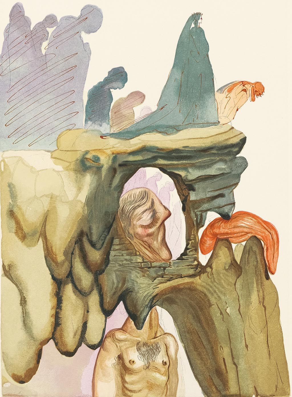 """Les Prevaricators"" (The Dishonest, 1959-1963), Salvador Dalí. From ""Divine Comedy: Inferno 22."""
