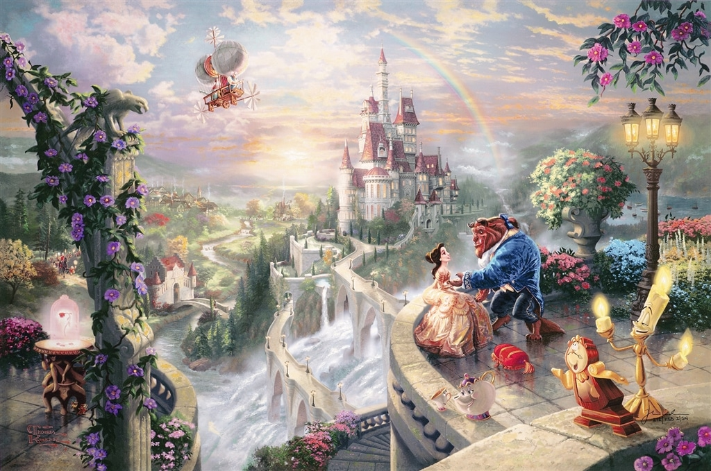"""Beauty and the Beast Falling in Love,"" Thomas Kinkade"