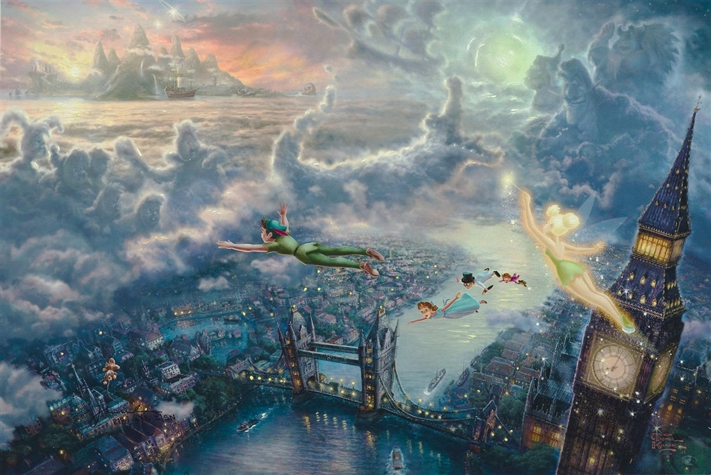 """Tinker Bell and Peter Pan Fly to Neverland,"" Thomas Kinkade"