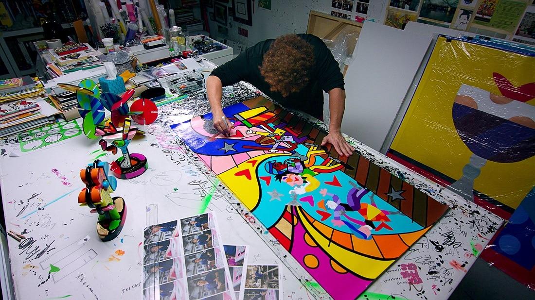 Romero Britto at work in his studio.