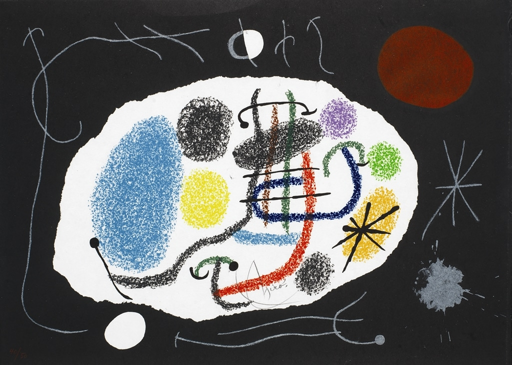 """Le Lezard aux Plumes d'Or II"" (1971; m. 800), Joan Miró, abstract, abstract art"