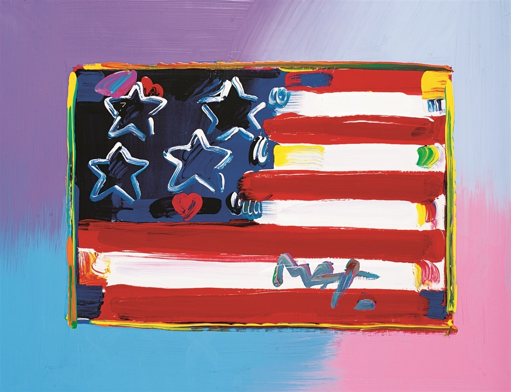 """Flag with Heart"" (1999), Peter Max"