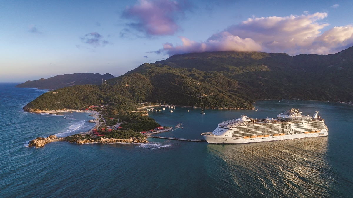 Grober's current ship, Harmony of the Seas, docked at Labadee, Haiti.