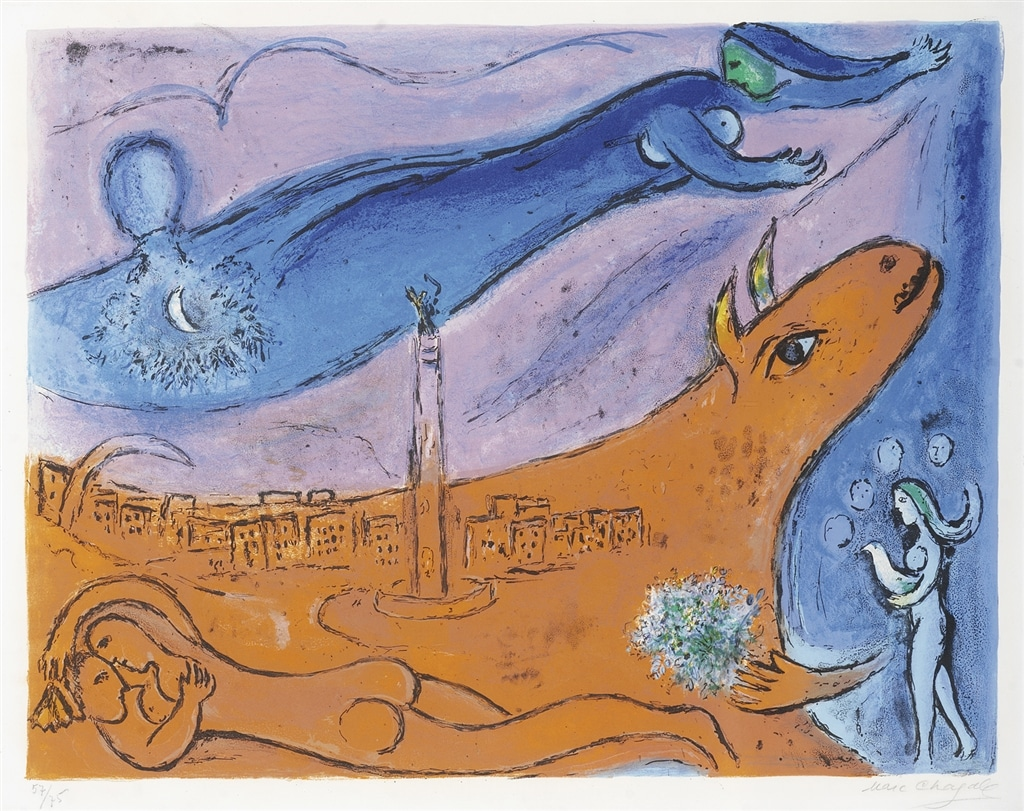 """The Bastille"" (1954; M. 111), Marc Chagall, Expressionism, Expressionist Art"