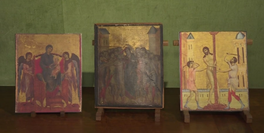 """Christ Mocked"" and two other paintings created by Cimabue (Image credit: AFP)"