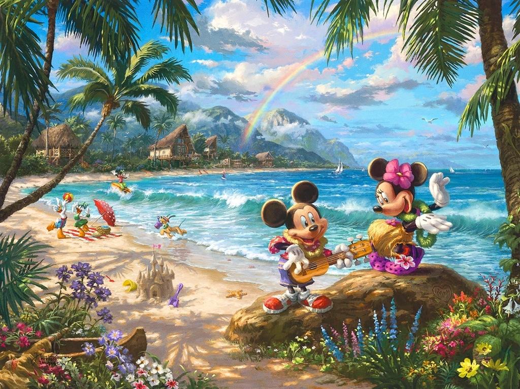 """Mickey and Minnie in Hawaii,"" Thomas Kinkade Studios"