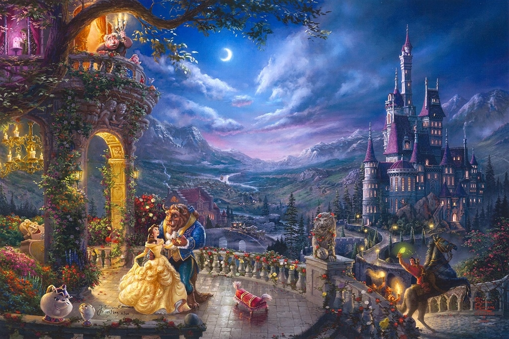 """Beauty and the Beast Dancing in the Moonlight,"" Thomas Kinkade Studios"