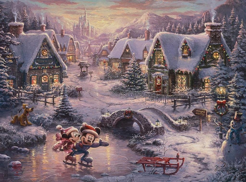 """""""Mickey & Minnie - Sweetheart Holiday,"""" Thomas Kinkade Studios"""