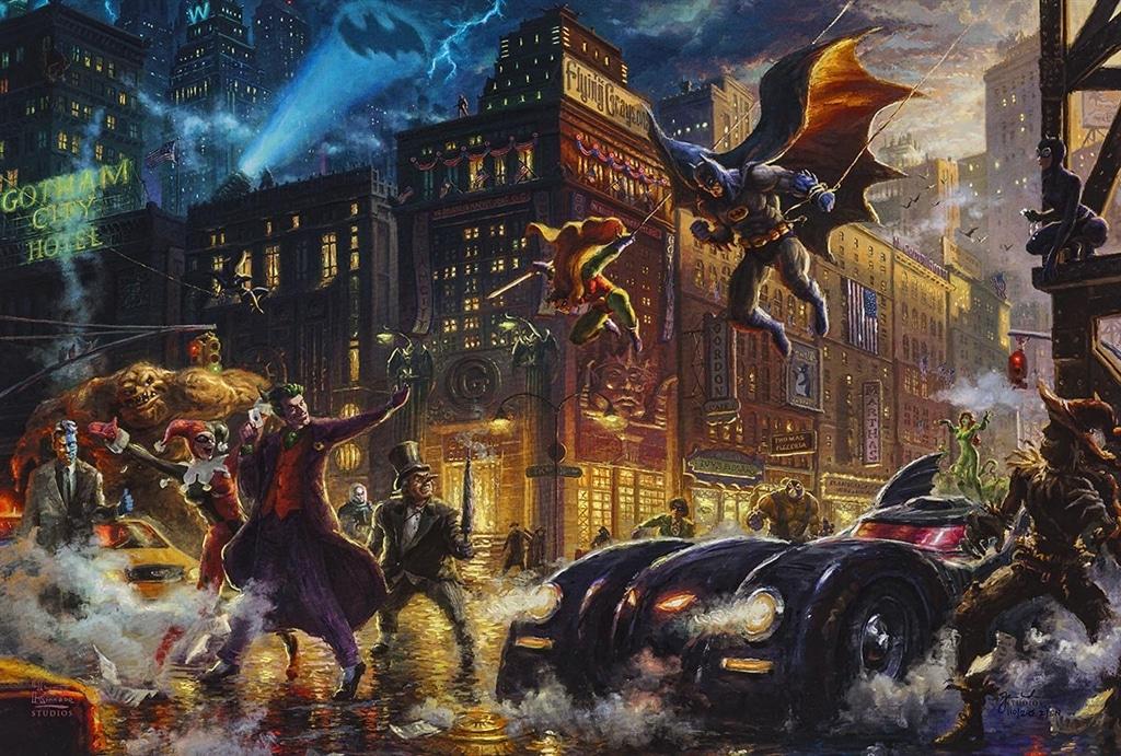 """Dark Knight Saves Gotham City,"" Thomas Kinkade Studios"