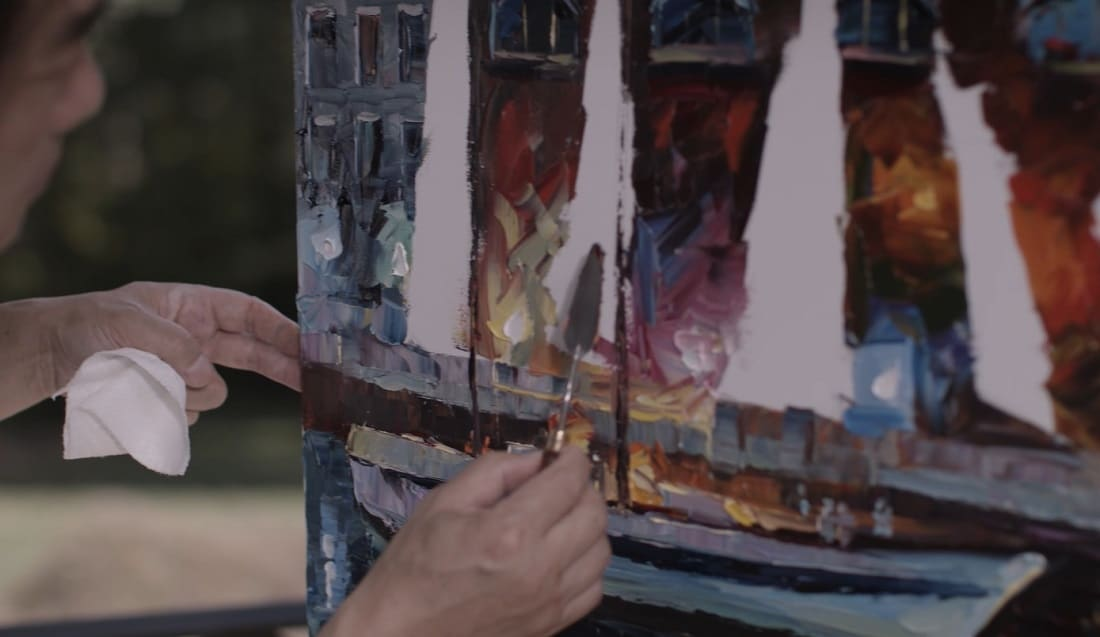 Wall is a master at painting with a palette knife