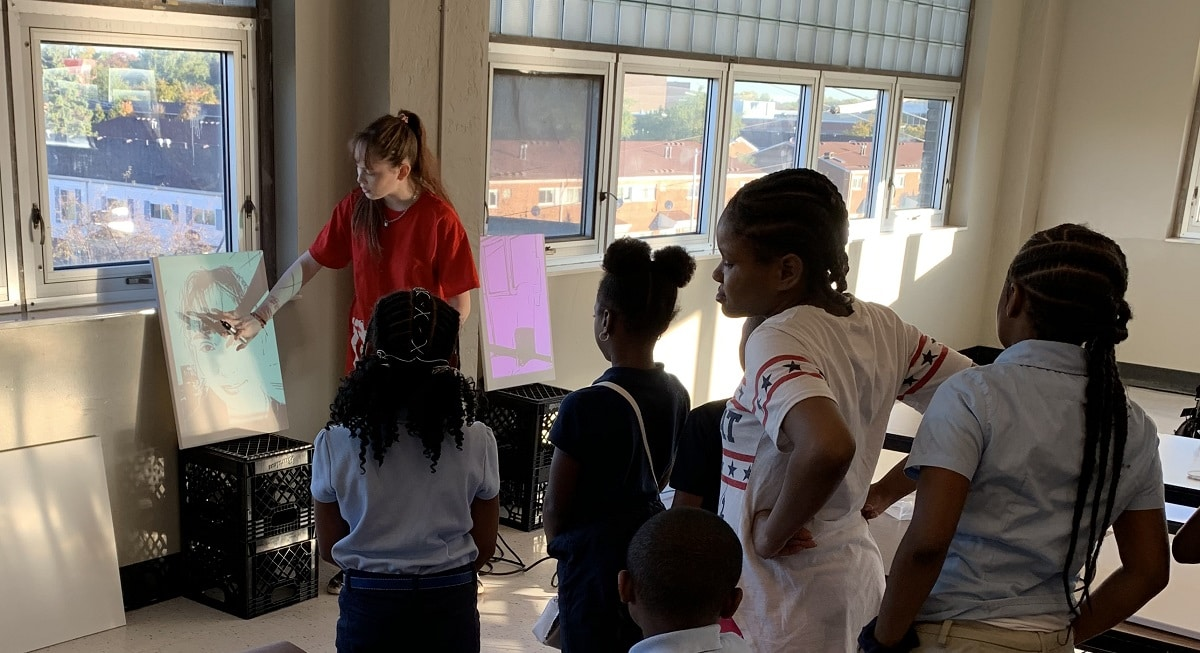 Autumn de Forest shares her knowledge with students at the Detroit Academy of Arts & Sciences