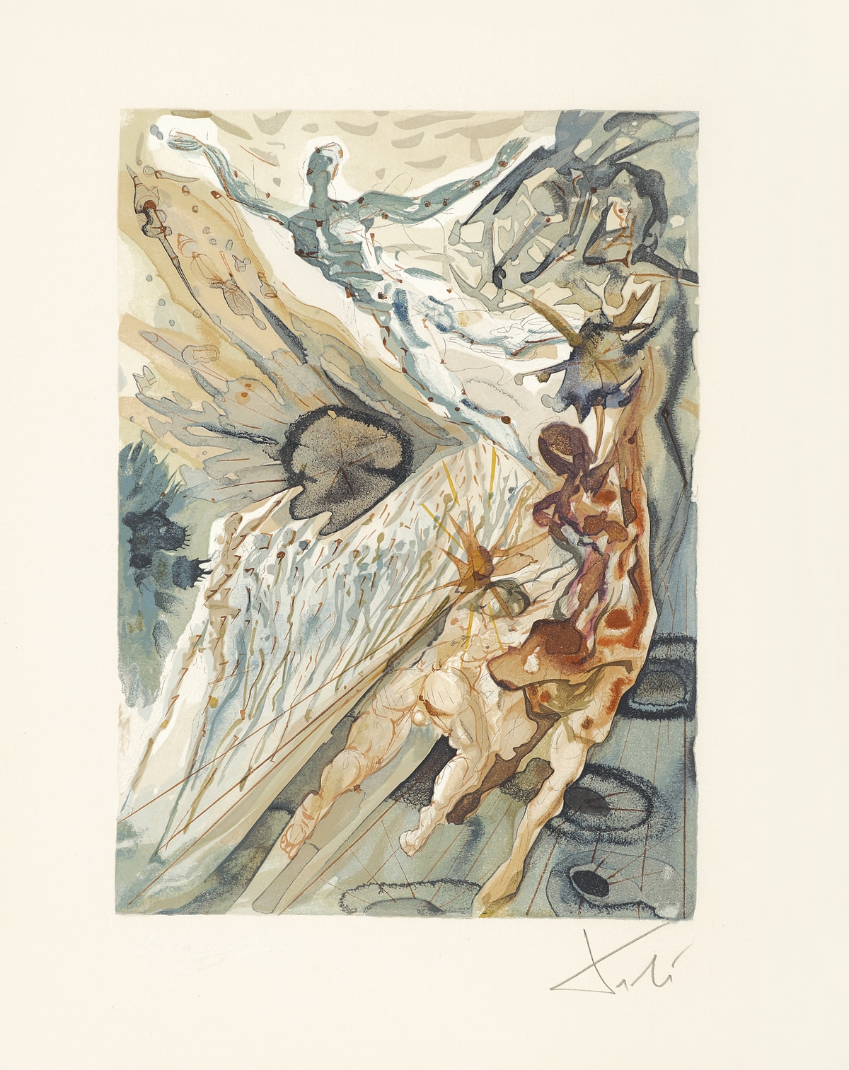 """Meeting of the Two Groups of Lechers (Recontre de deux troupes de luxurieux)."" From ""Divine Comedy - Purgatory 26"" by Salvador Dalí"