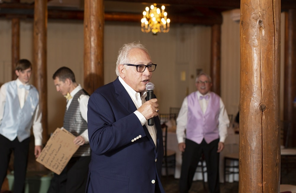 Radio host Paul W. Smith giving his toast at Albert Scaglione's 80th birthday party.