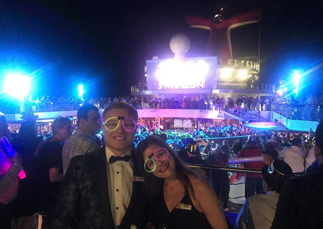 Auctioneers Matty and Sasha celebrate New Year's Eve on Carnival Valor
