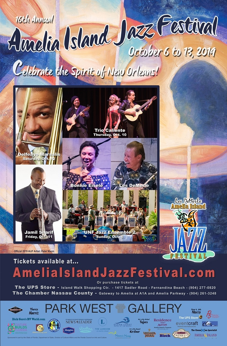 The poster for the 2019 Amelia Island Jazz Festival.