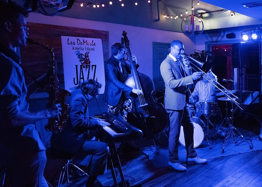 "Delfeayo Marsalis at the Late Nite Jam at ""Dizzy's Den."" Also featured are John Brown on sax, Daniel Tenbusch on piano, Sam Lobey on bass, and Les DeMerle on drums."